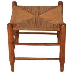 Wooden French Provincial Country Oak Stool with Woven Reed seating
