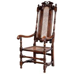 17th Century Style Beech Caned Elbow Chair
