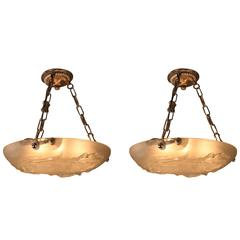 Pair of Amazing Art Deco Glass Chandelier by Verlys