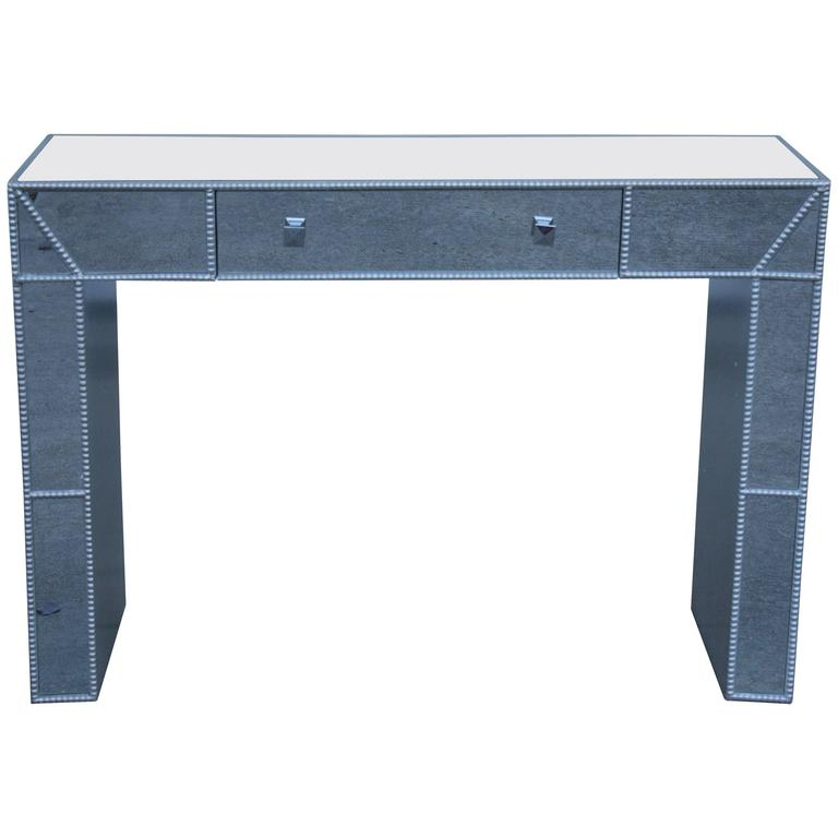 Contemporary 1990s Italian Mirrored Console Writing Table Desk with Drawer