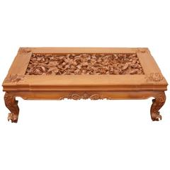 Trompe l'Oeil Realism Foliage Fauna Carved Detail Teak Wood Table with Glass Top