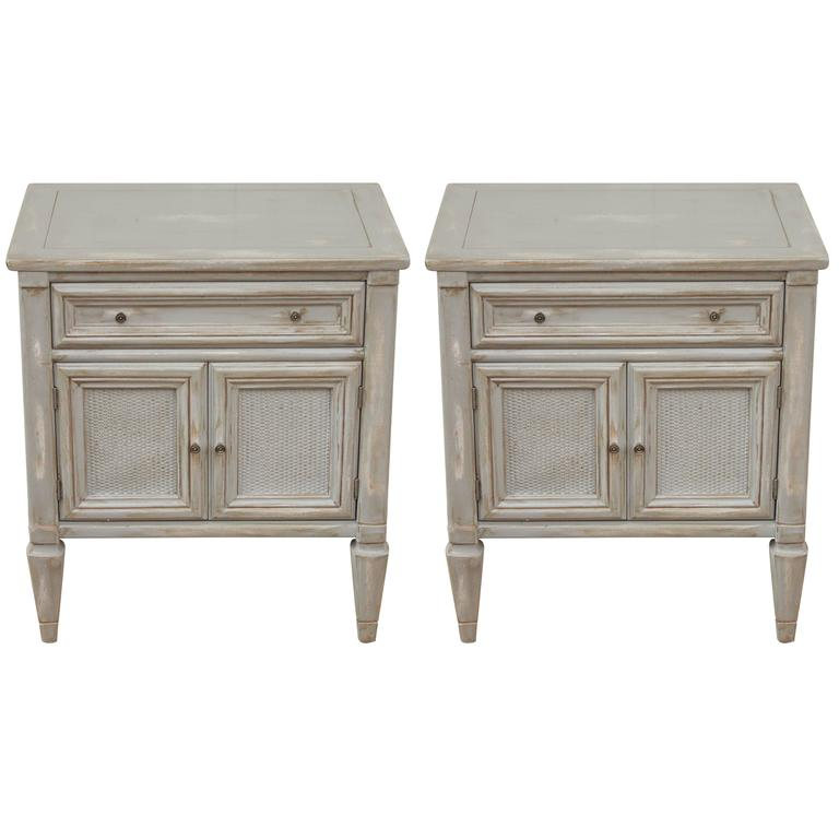 Merveilleux Pair Of French Country Painted Cane Grey Washed Single Drawer Side Tables  For Sale