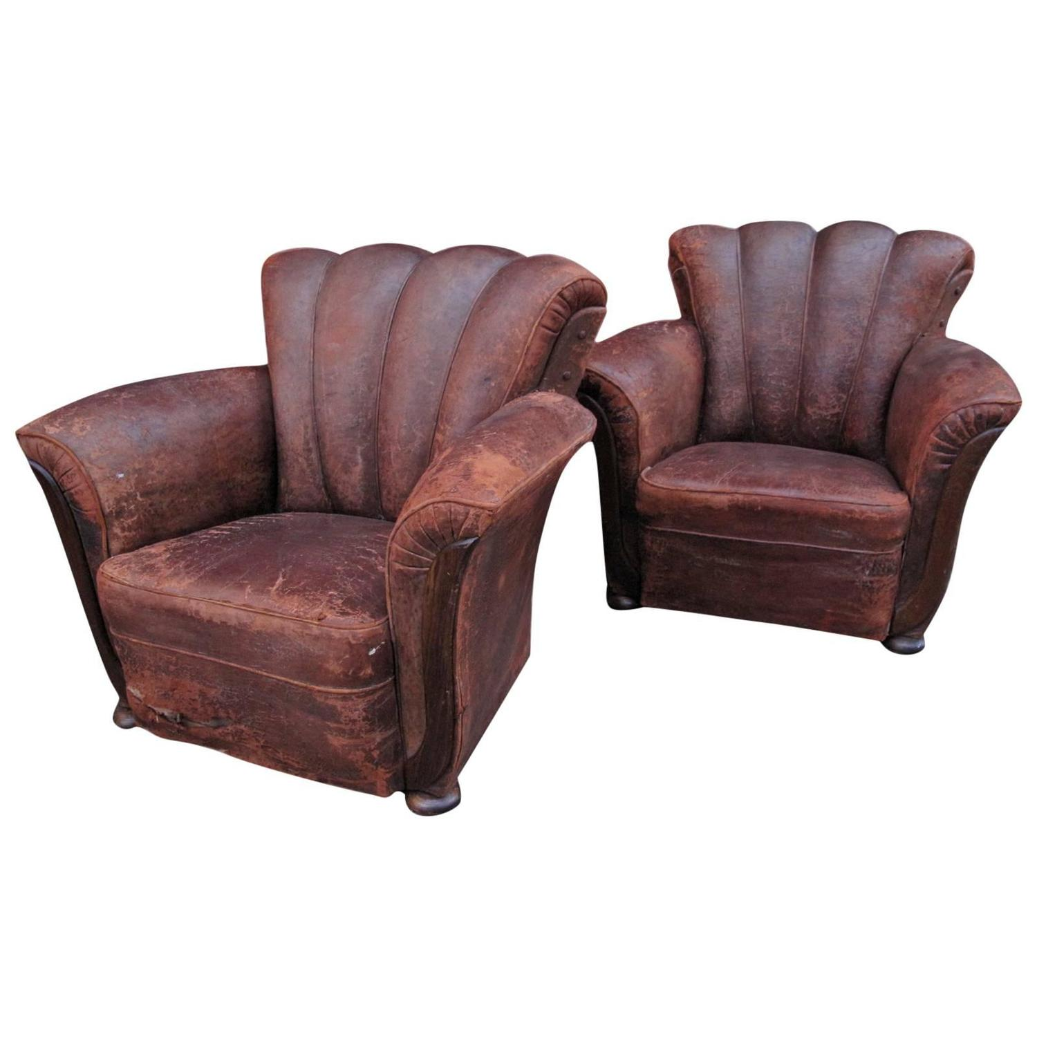 Pair of French Art Deco Leather Club Chairs at 1stdibs