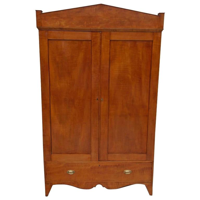 american hepplewhite tiger maple armoire circa 1800 for