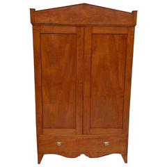 American Hepplewhite Tiger Maple Armoire, Circa 1800