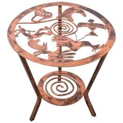 Copper Side Table with Stylized Native American Motifs