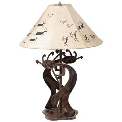 Copper Table Lamp with Stylized Native American Motifs and Leather Shade