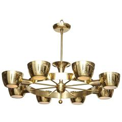 Brass Eight-Light Chandelier by Gerald Thurston for Lightolier