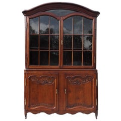 French Provincial Walnut Flanking Glass & Cabinet Arched Dome Cupboard, C. 1780