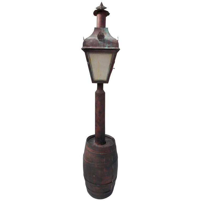 American Copper Street Lantern in Wooden Barrel, Sturbridge, MA., Circa 1820