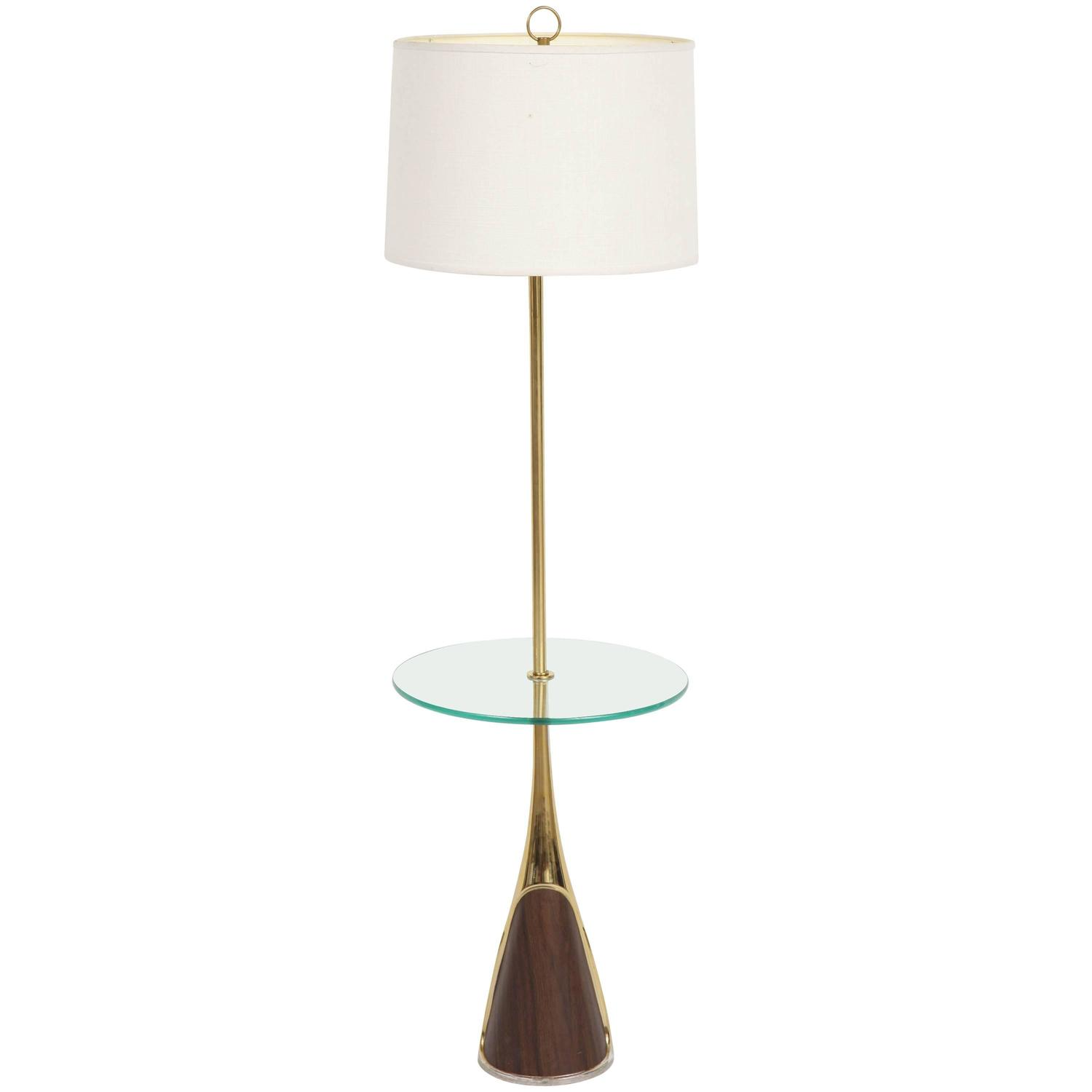 Laurel floor lamp with table shelf for sale at 1stdibs for Floor lamp with shelves