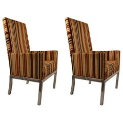 Pair of High Back Aluminum Base Chairs