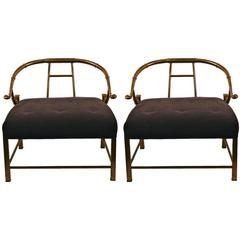Pair of Brass Lounge Chairs by Weiman, Mastercraft