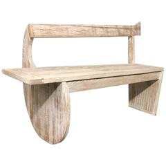 French Cerused Oak Bench Style Rene Gabriel