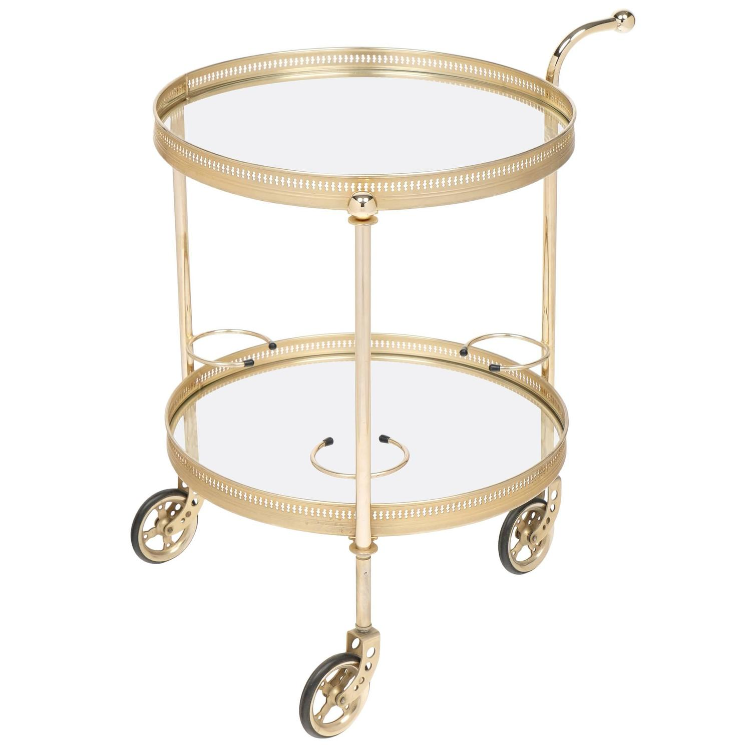 French Vintage Neoclassic Brass Round Bar Cart At 1stdibs