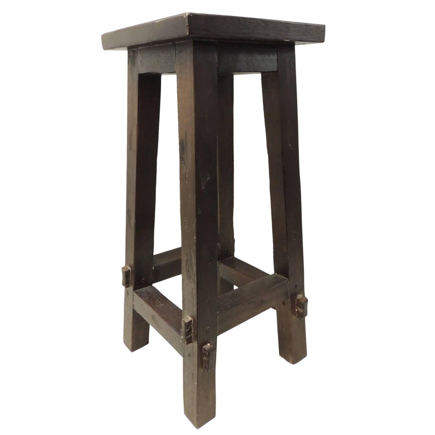 arts and crafts style tall wood stool at 1stdibs