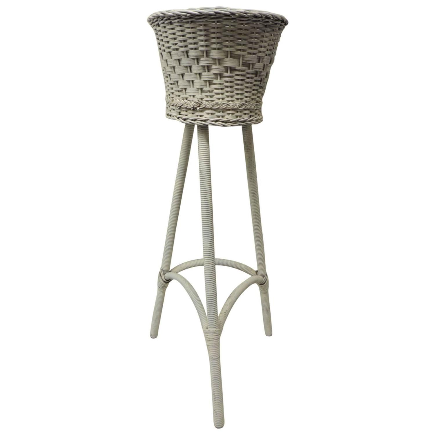Vintage Victorian Wicker Plant Stand At 1stdibs