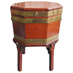 18th Century English Wine Cooler or Cellarette, Mahogany with Brass Banding