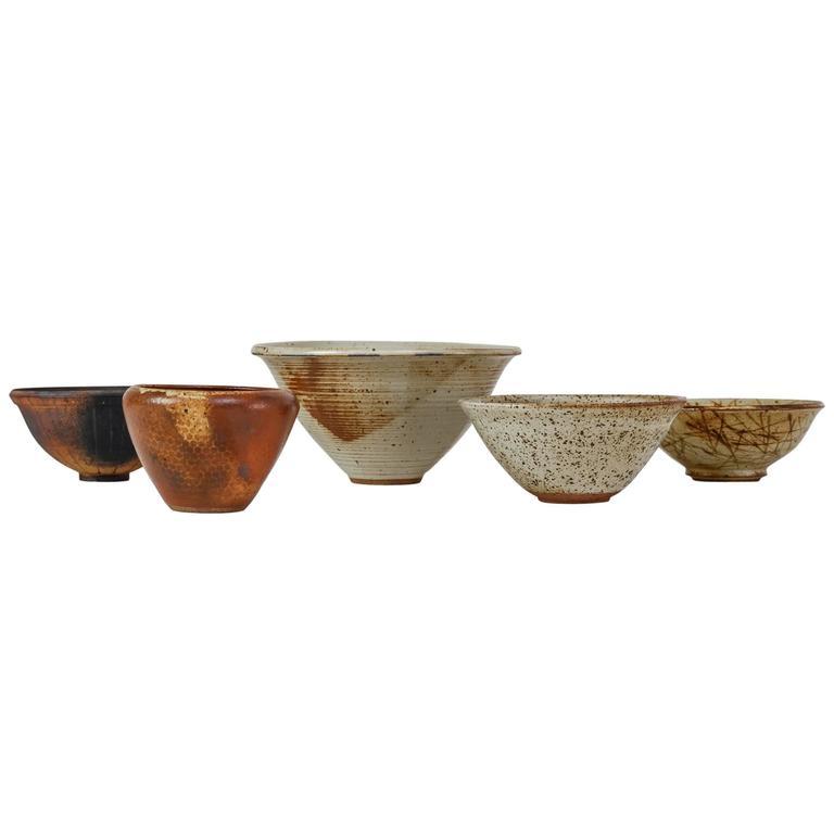 Franco Agnese Set of Five Ceramic Bowls, France, 1960s