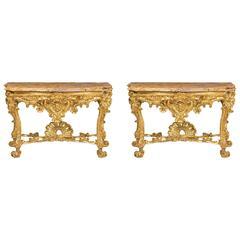 Pair of Roman Consoles, 18th Century