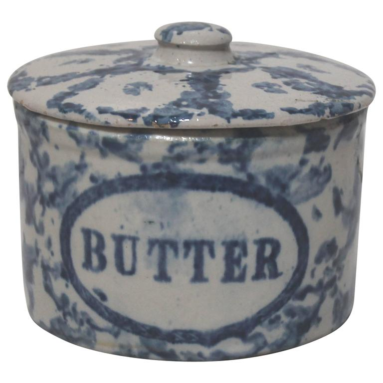 19th Century Rare Spongeware Pottery Butter Crock with Lid