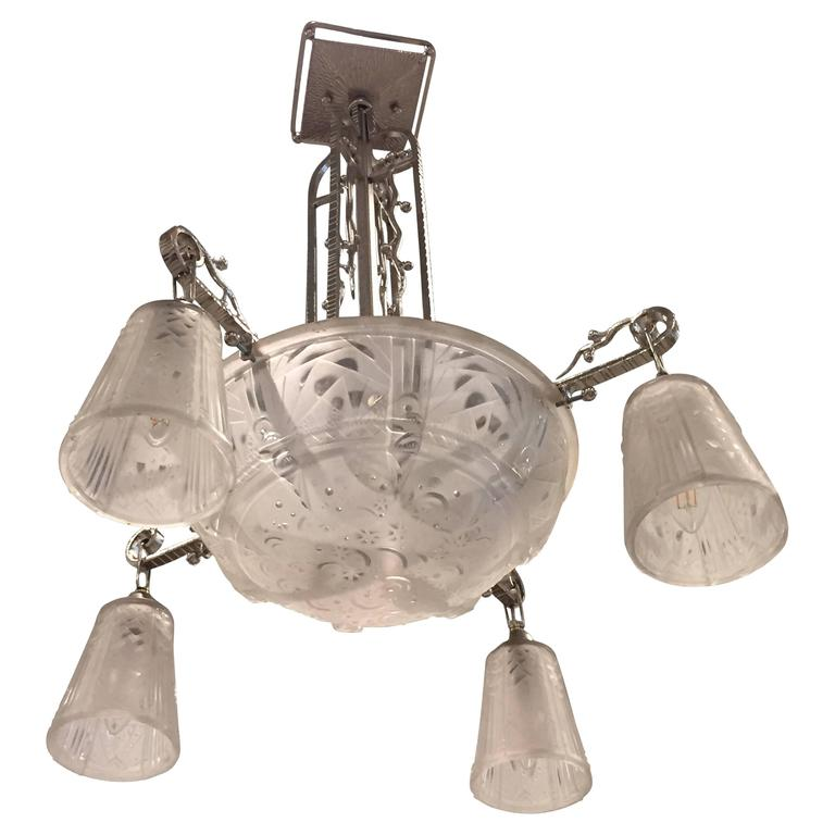 French Art Deco Chandelier Signed by Muller Freres