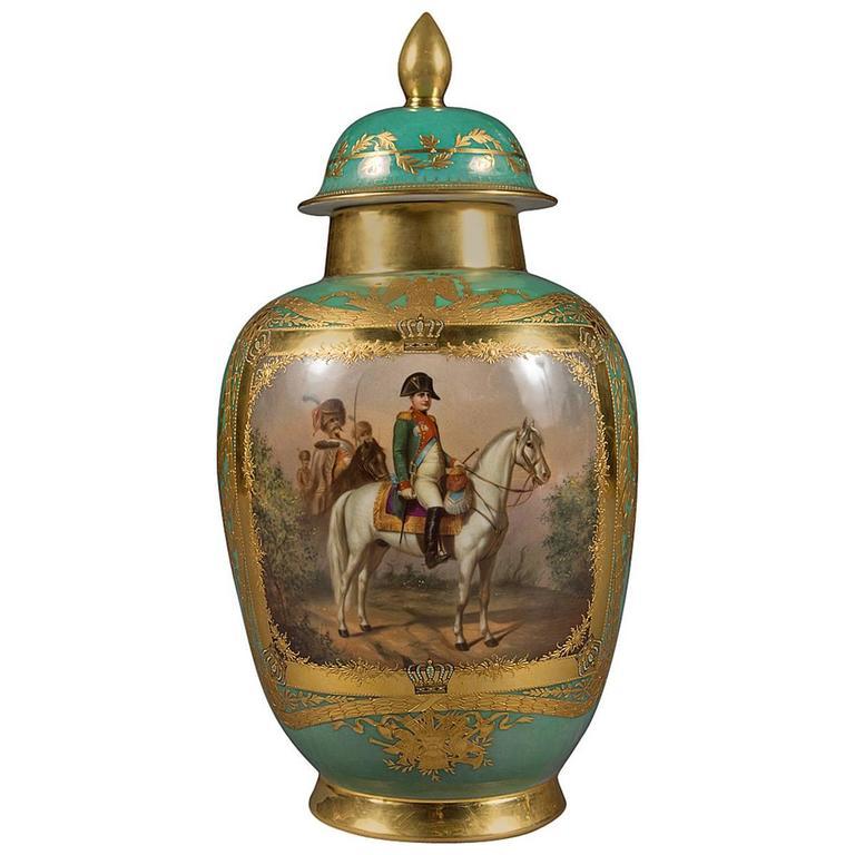 Antique Dresden Porcelain Jeweled Napoleonic Covered Vase At 1stdibs