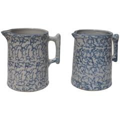 Pair of 19th Century Spongeware Pitchers