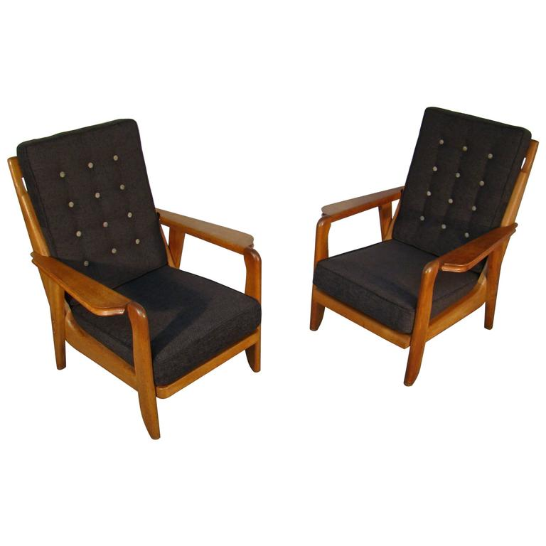 Guillerme et Chambron Pair of 1950s Armchairs
