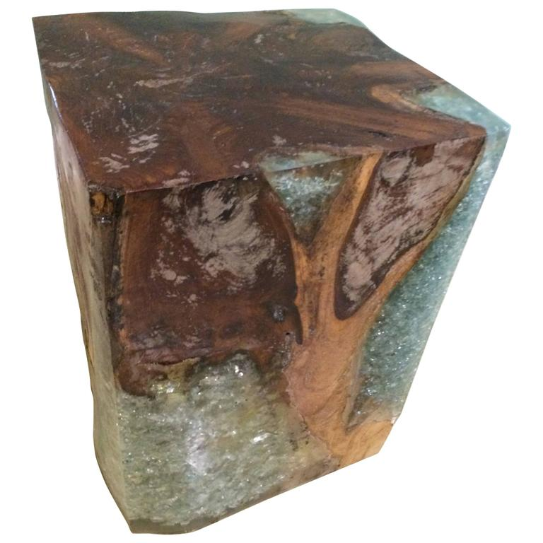 Wooden Block Table With Resin At 1stdibs
