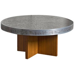 1960s Belgian Round Coffee Table with Embossed Graphic Top