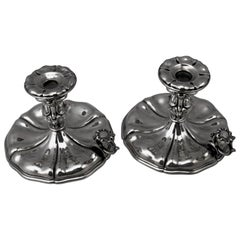 Silver Italian Pair of Candlesticks, Made circa 1875-1880