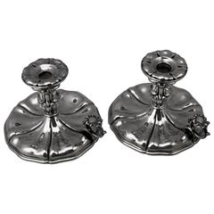Silver Italian Pair of Candlesticks, Made circa 1875-1880