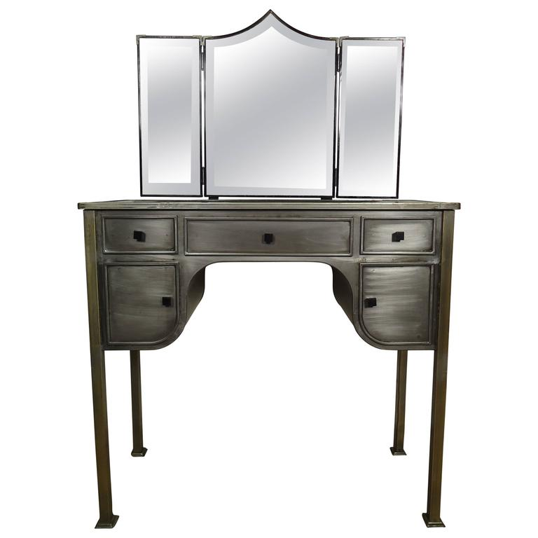 mid century industrial furniture. midcentury industrial style vanity desk and bench by united 1 mid century furniture