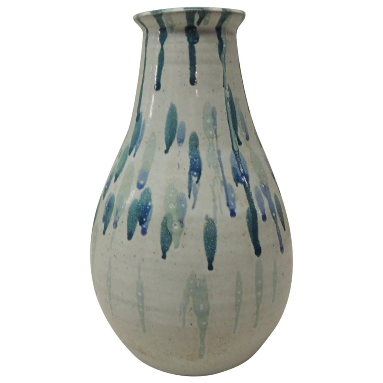 tall blue mid century modern art pottery vase at 1stdibs. Black Bedroom Furniture Sets. Home Design Ideas