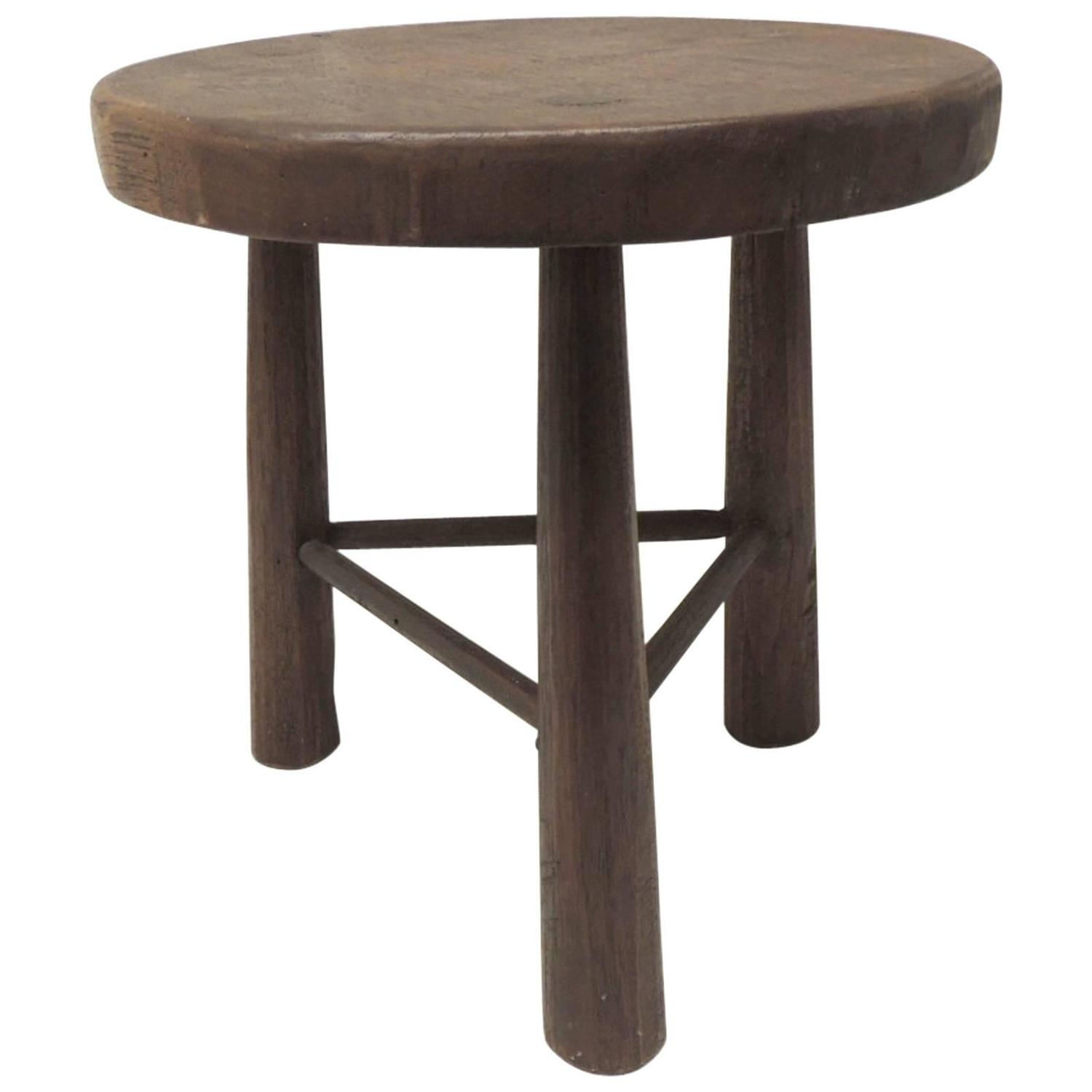 Three Legged Stool ~ Vintage wood tripod three legged stool at stdibs