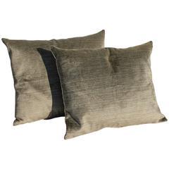 Amazing Khaki Green Vintage Silk Velvet Pillows