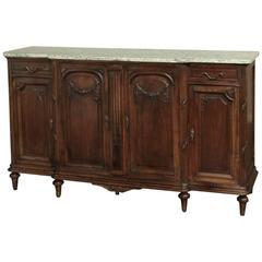19th Century French Neoclassical Marble-Top Walnut Buffet
