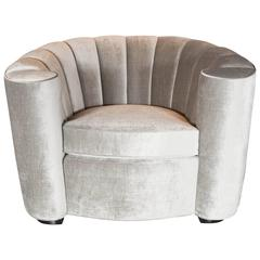 1940s Art Deco Hollywood Scroll-Arm Channel-Back Club Chair in Platinum Velvet