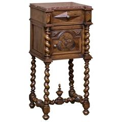 19th Century Barley Twist Marble-Top Nightstand