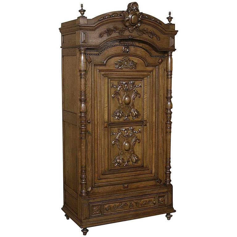 19th century french renaissance walnut armoire at 1stdibs for 19th century french cuisine