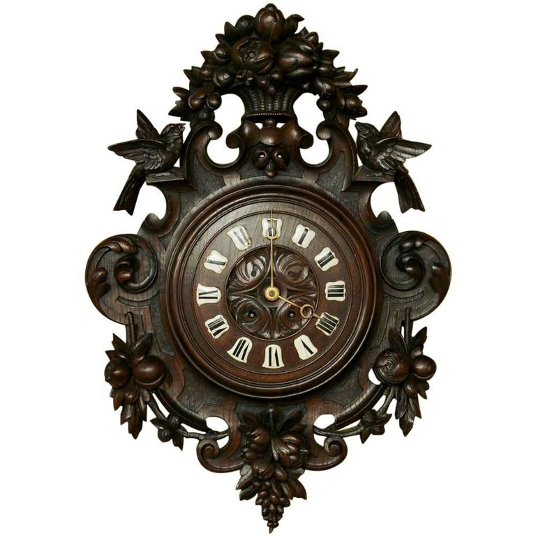 Th century carved wood wall clock for sale at stdibs