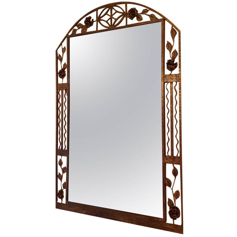Mirror of wrought iron french art deco for sale at 1stdibs for Wrought iron mirror