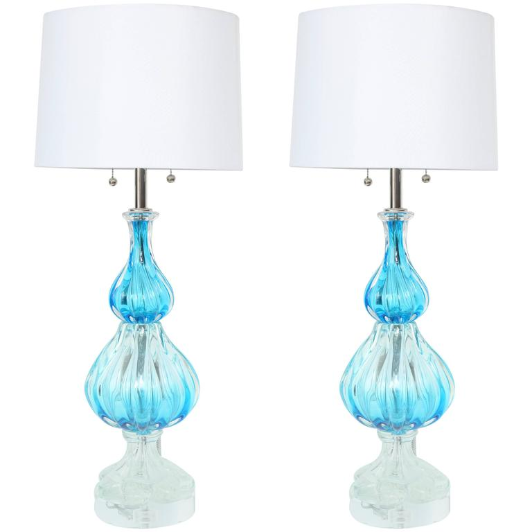 Seguso Blue & Clear Fluted Murano Glass Lamps