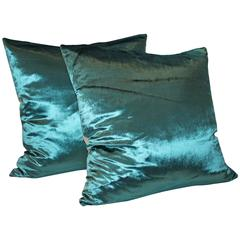 Sexy and Silky Aquamarine Silk Velvet Pillows