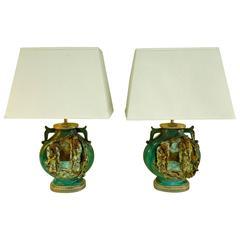 Rare Pair of Fantoni Chinoiserie Mid-Century Lamps