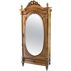 French Wardrobe, Louis XIV, Wood and Beveled Mirror