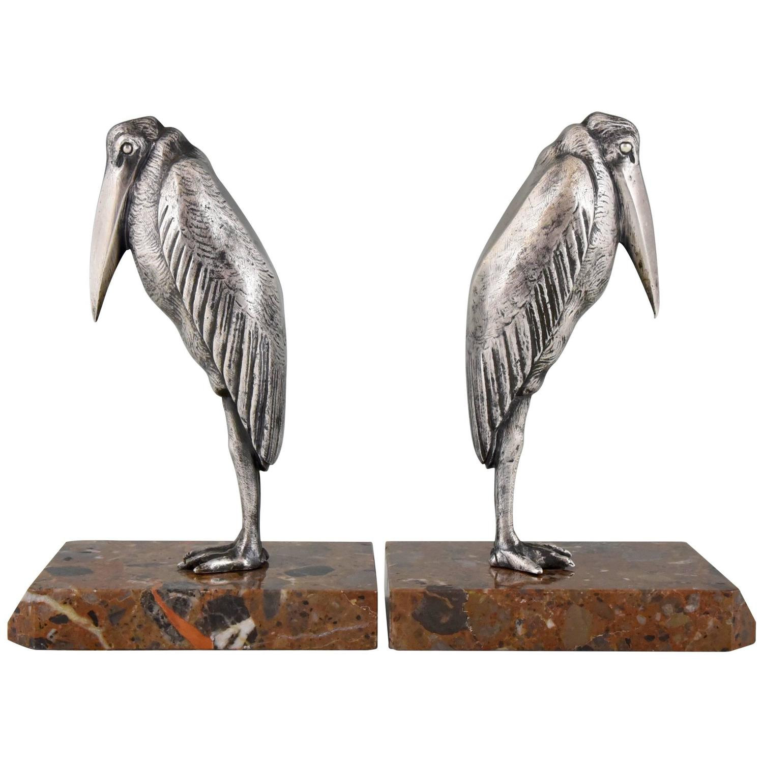 Art Deco Bonze Marabou Bookends By Claude, M. Guillemard, 1930 France At  1stdibs