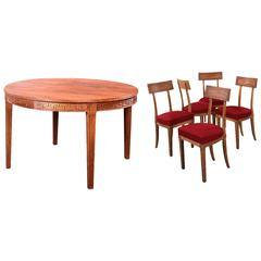 J.M. Frank et A. Chanaux, Dining Room Set of Round Table and 10 Chairs, c.1936