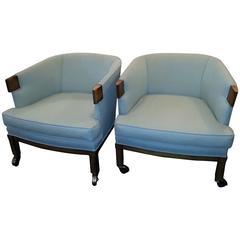 Pair of Mid-Century Modern Barrel Chairs